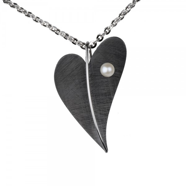 Ernstes Design, Herz Anhänger Edelstahl schwarz mit Süßwasser Perle ohne Kette, AN403