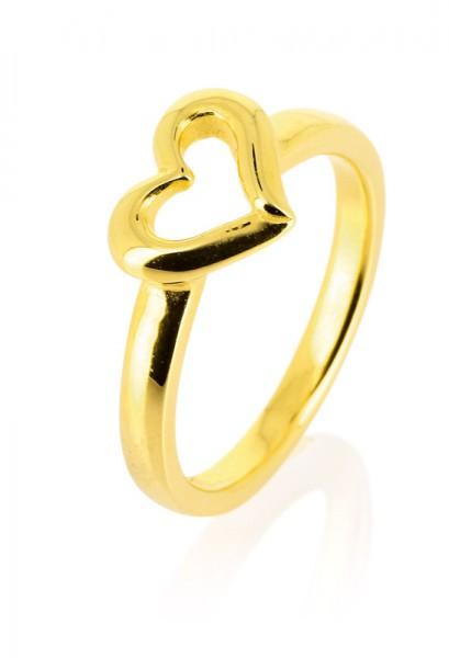 heartbreaker designed by Drachenfels style & go - Steckring / Vorsteckring Herz-Motiv goldfarben