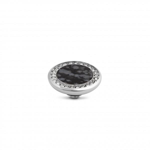Melano Vivid VM26 Aufsatz Crystal Gem 12 mm aus Edelstahl mit Zirkonia und Schneeflocken Obsidian