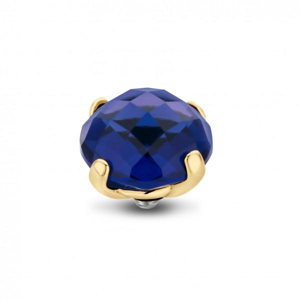 Melano Twisted Ringaufsatz, Fassung Edelstahl goldfarben mit Zirkonia in Farbe Midnight, Mitternacht