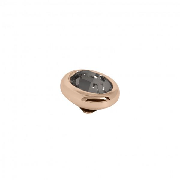 Melano Twisted Ringaufsatz, Fassung Edelstahl rosé mit Swarovski Element in Farbe Schwarzer Diamant