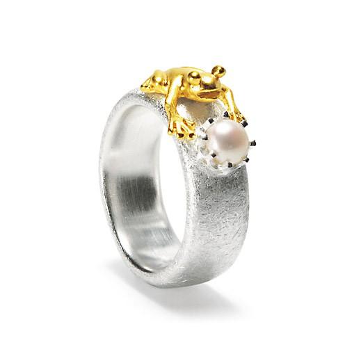 Drachernfels Ring Frosch mit Perle Silber goldplattiert D FR 132 Drachenfels Design Froschkönig