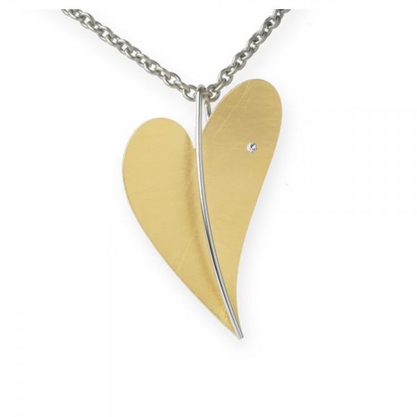 Ernstes Design Anhänger, großes Herz aus Edelstahl gelbgold mit Diamant ohne Kette, AN230