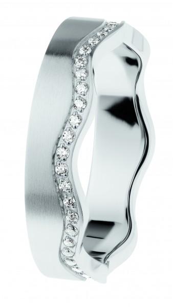 Ernstes Design Evia Ring R553, Welle, Vorsteckring, Edelstahl matt, 5 mm, Zirkonia weiß