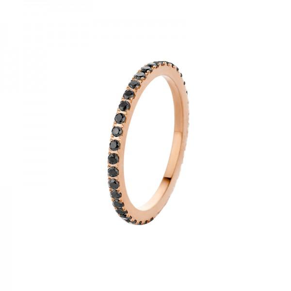 Melano Vorsteckring, schmaler Ring aus Edelstahl rosé mit Zirkonia Steinen in Farbe schwarz