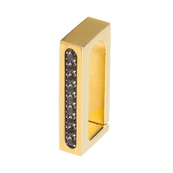 Ernstes Design Anhängerverschluss Edelstahl goldfarben mit Zirkonia Schwarz ANV06.BL