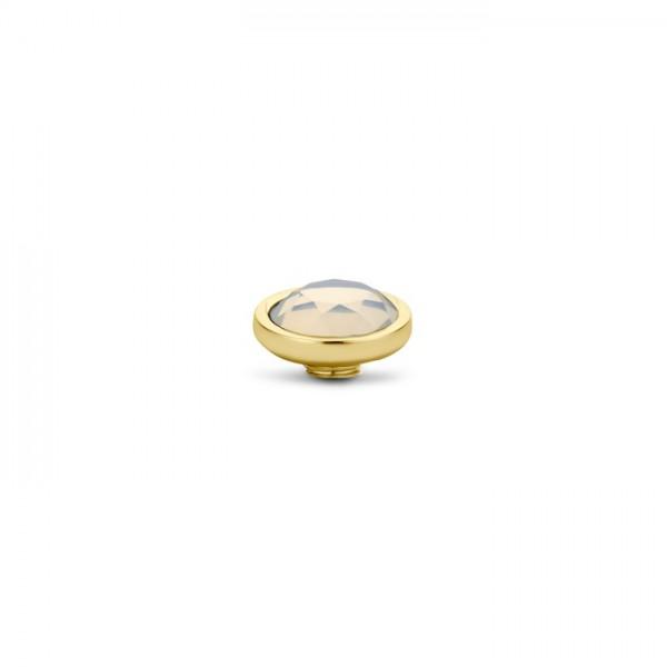 Melano Vivid VM25 Aufsatz / Fassung 9 mm aus Edelstahl goldfarben mit Zirkonia White opal