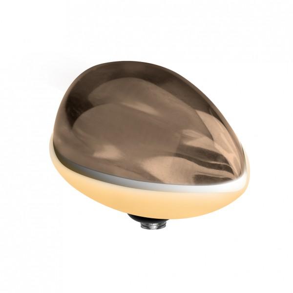 Melano twisted Fassung, Aufsatz Edelstahl Farbe gold mit Zirkonia in Tropfenform Marquise für twiste