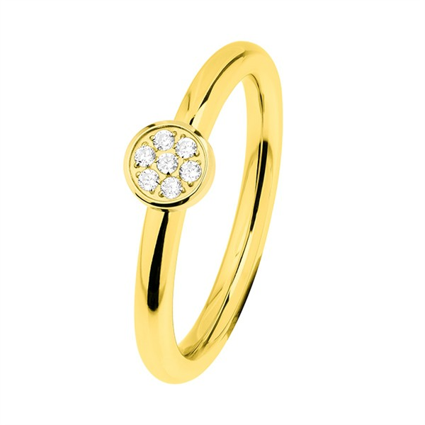 Ernstes Design R457.WH Evia Ring, Vorsteckring, Ring Edelstahl beschichtet goldfarben mit Steinen