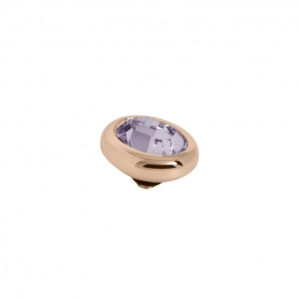 Melano Twisted Ringaufsatz, Fassung Edelstahl rosé mit Swarovski Element in Farbe Amethyst
