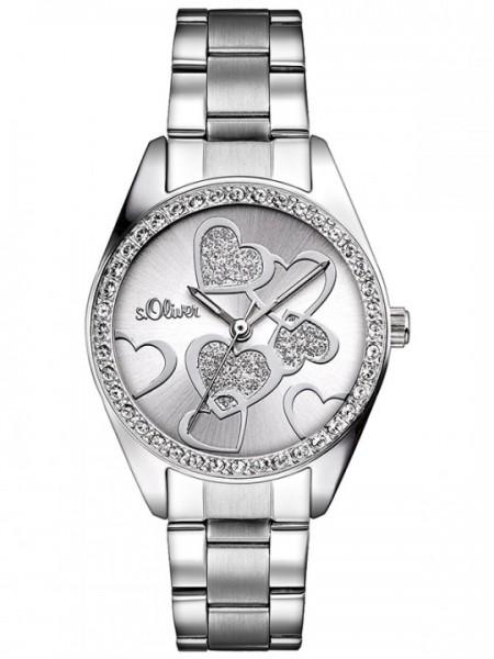 s.Oliver Uhr, With Love, runde Damenuhr mit Steinen auf Gehäuse, Edelstahl poliert SO 2857 MQ