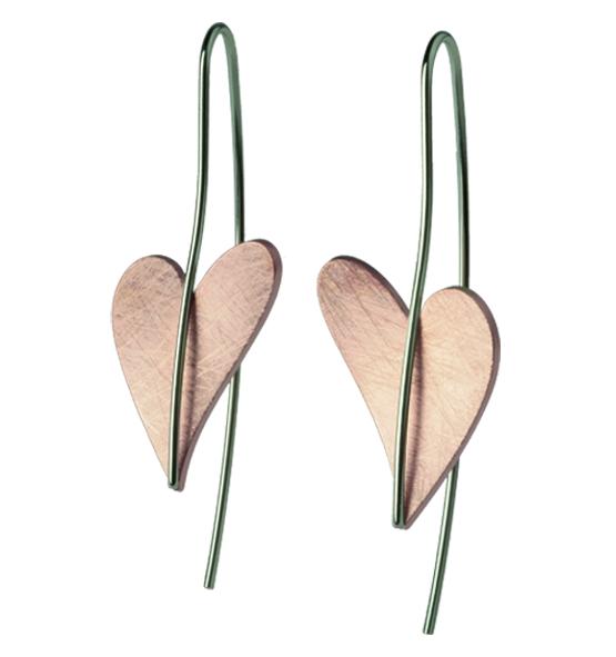 Herz Ohrhänger von Ernstes Design Edelstahl teilvergoldet rotgold, E243 geschwungenes Herz