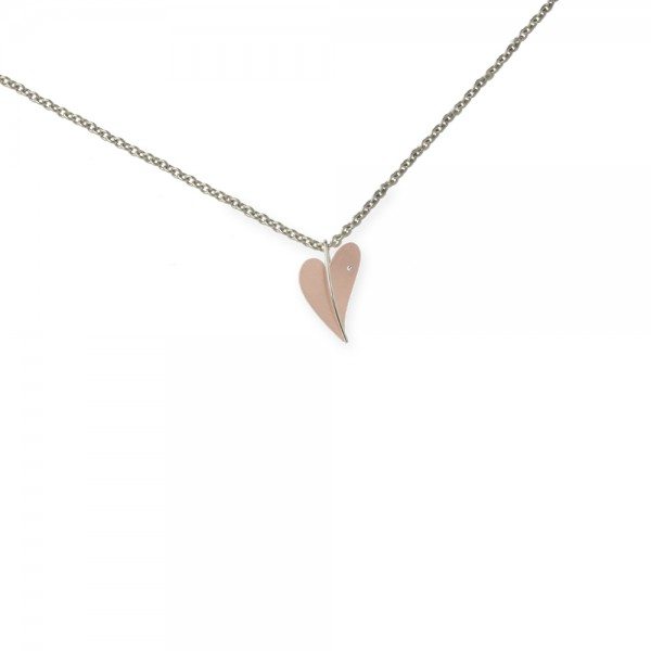 Ernstes Design Anhänger, kleines Herz aus Edelstahl rotgold mit Diamant ohne Kette, AN281