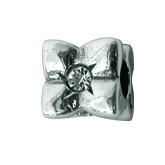 Silber Charms mit weiss Swarovski Steinen Anhänger, Kugel, Bead Silber APS 008 Piccolo das Original