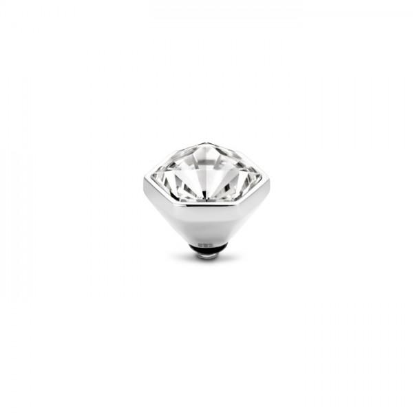 Melano Twisted Ringaufsatz, Fassung Hexa, Edelstahl mit Zirkonia in Farbe kristall, TM69