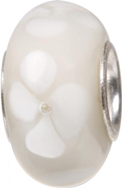 Murano Bead, Murano Glaskugel für Bettelarmband weiss, GPS 03 von Charlot Borgen Design