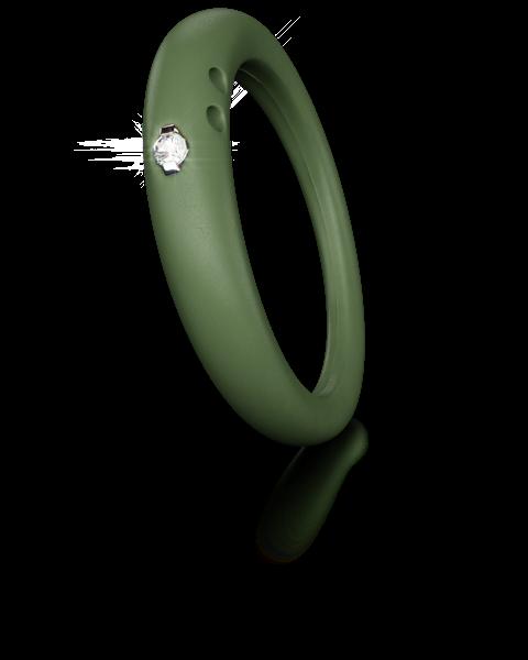 Duepunti Ring aus Silikon in apfel grün mit einem Diamanten DPR 6011