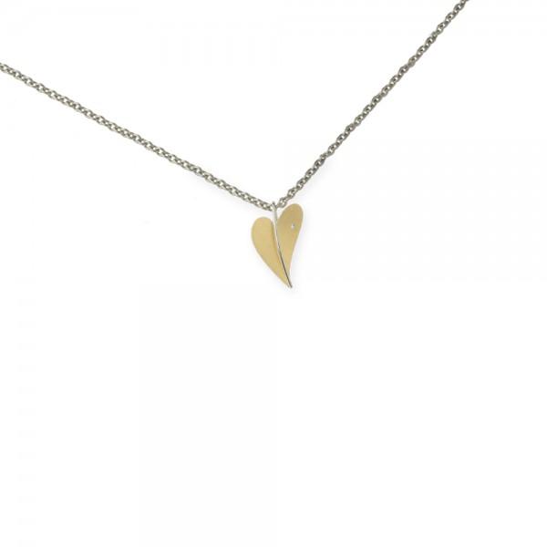 Ernstes Design Anhänger, kleines Herz aus Edelstahl gelbgold mit Diamant ohne Kette, AN280