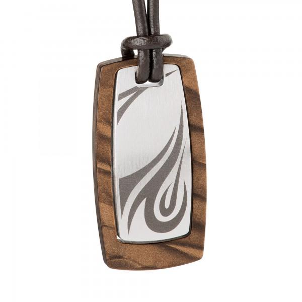 Männerschmuck von Ernstes Design K609.B Kette / Collier silk wood braun mit Lederband ca.17 x 34 mm