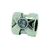 Silber Charms mit weissem Stein Anhänger, Kugel, Bead Silber APX-001 von Piccolo das Original