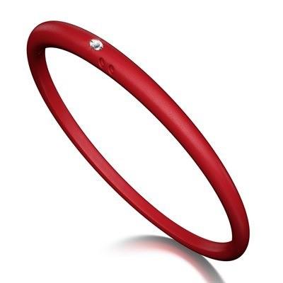 Duepunti Armreif Reif Bangles aus Silikon in rot mit einem Diamanten