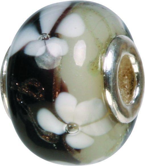 Mundgeblasene Muranoglaskugel mit Silberkern, Charm, Bead, GPS 58 black von Piccolo das Original