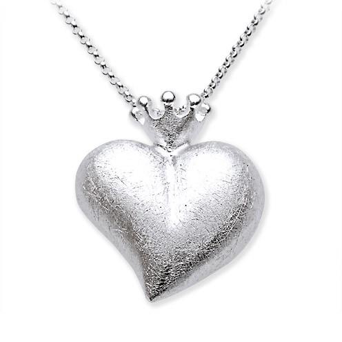 heartbreaker Herz mit Krone Anhänger für Halskette LD LP 32 RM-II Silber designed by Drachenfels