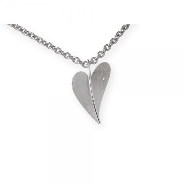 Ernstes Design Anhänger, Herz aus Edelstahl mit Diamant ohne Kette, AN226