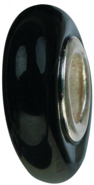 Mundgeblasene Muranoglaskugel schmal schwarz GPS-01 / Charm / Bead / Anhänger fürs Bettelarmband