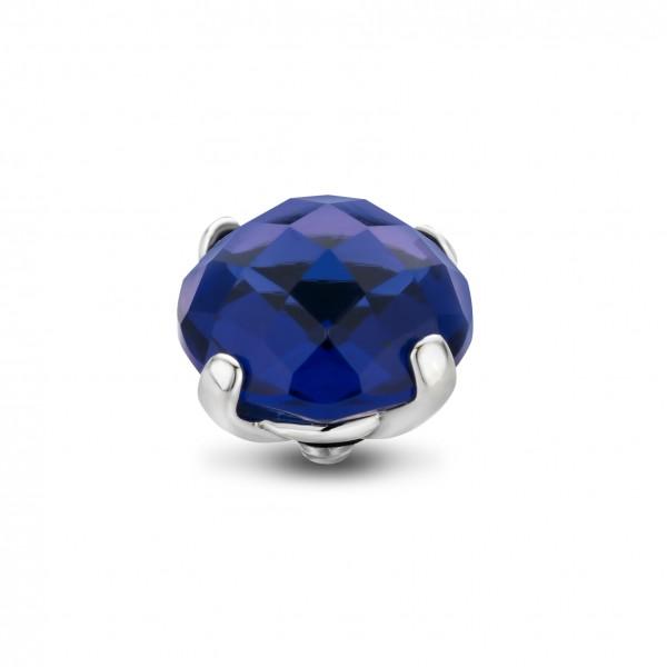 Melano Twisted Ringaufsatz, Fassung Edelstahl mit Zirkonia in Farbe Midnight (Mitternacht Blau)