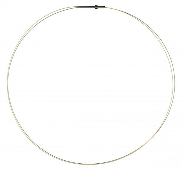 Ernstes Design Drahtseil, Halskette, Kette 2-fach Edelstahl bicolor matt mit Clic-Verschluss DS2C