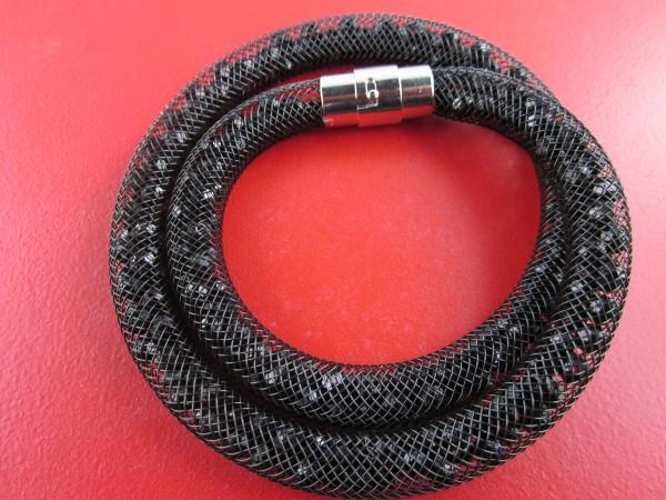 Sternenglitzer-Look Armband schwarz, geflochtenes Armband mit Steinen