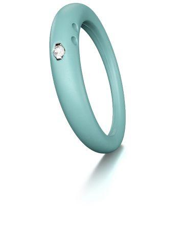 Duepunti Ring aus Silikon in Aqua helltürkis mit einem Diamante