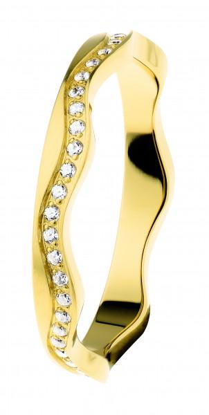 Ernstes Design R561 Evia Ring, Welle, Vorsteckring, Edelstahl goldfarben beschichtet mit Zirkonia