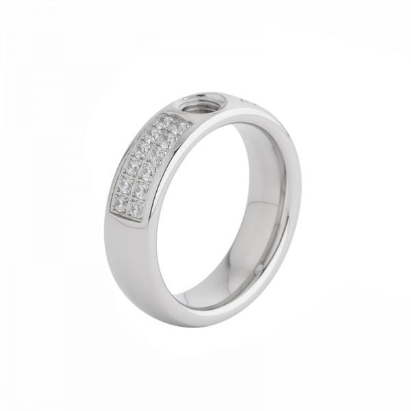 Melano Vivid Ring Edelstahl mit Zirkonia M01R 9010 CZ SS 6mm Breit