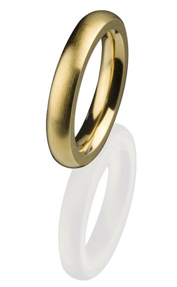 Ernstes Design Vorsteckring, Beisteckring, ED vita, schmaler Ring aus Edelstahl 4 mm R257 vergoldet