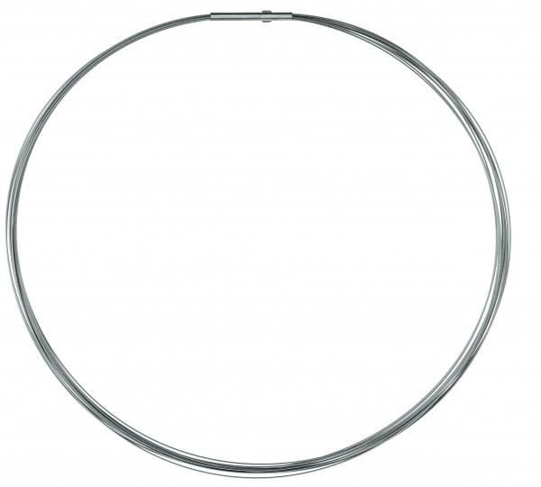 Ernstes Design Drahtseil, Halskette, Kette 10-fach Edelstahl matt mit Clic-Verschluss DS10C