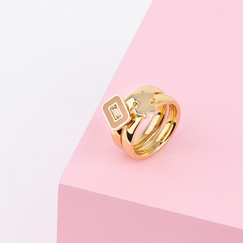 Melano Twisted Komplettring, Ringkombination summer puzzle, 2 Ring, 2 Aufsätze, Edelstahl goldfarben