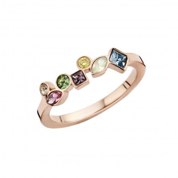 Melano friends Mosaic Vorsteckring, schmaler Ring aus Edelstahl farbe rosé mit Zirkonia Farbe Bunt