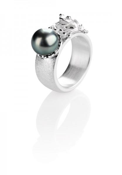 Drachernfels Ring Frosch mit Tahitiperle Silber D FR 14 Drachenfels Design Schmck Froschkönigring