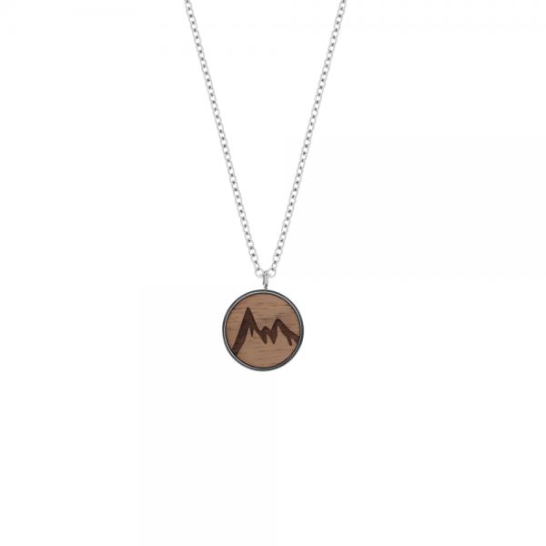Eydl wood jewelry, Halskette Skyla, Berg, Edelstahl / Nuss, Ø 17 mm, 44 cm