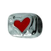 Piccolo Anhänger, Charm, Bead, Kugel APE-014 Emaillekugel mit Silberkern Herz