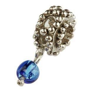 Silberkugel geschwärzt mit blauer Glaskugel, Charlot Borgen Design