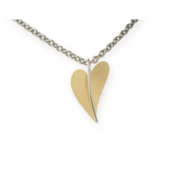 Ernstes Design Anhänger, Herz aus Edelstahl teilvergoldet gelbgold AN206 ohne Kette