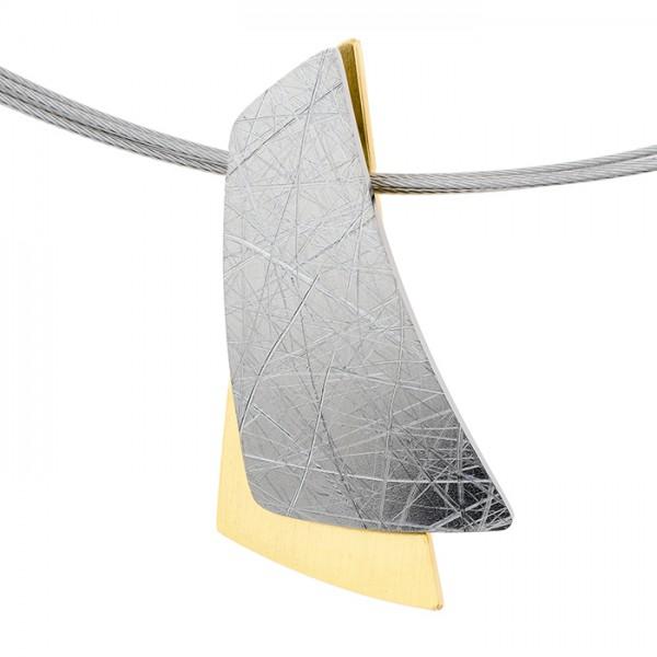 Ernstes Design Anhänger AN886, Edelstahl matt / poliert / gekratzt, teils goldfarben beschichtet