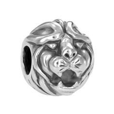 Löwen Silberbead für Männer Modischer Männerschmuck Für Hals und Armketten-Bänder z.B Lederbänder.