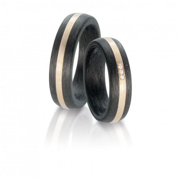 Carbon Eheringe Trauringe Partnerringe made in Germany mit Diamanten 59318003002N556