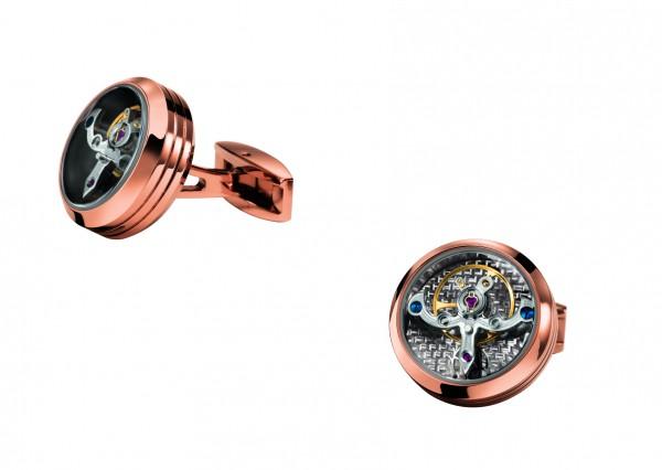 Manschettenknöpfe Exquisit mit Tourbillon Käfig aus Edelstahl PVD beschichtet rosé TF EST. 196 c6
