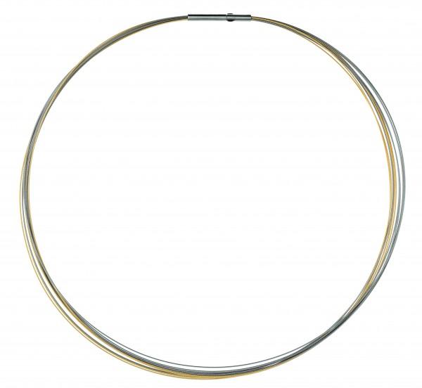 Ernstes Design Drahtseil, Halskette, Kette 10-fach Edelstahl bicolor matt mit Clic-Verschluss DS10C