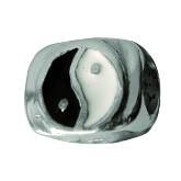 Piccolo Anhänger, Charm, Bead, Kugel APE-010 yin und yang Emaillekugel mit Silberkern-Copy